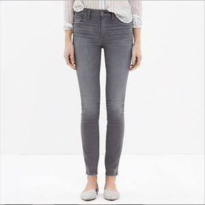 Madewell Gray High Riser Skinny Distressed Jeans